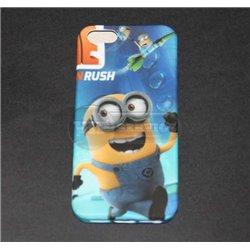 iPhone 5G чехол-накладка «Бегущий миньон» силиконовый, синий фон