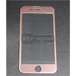 iPhone 6/6S противоударное стекло Momax с алюминиевой рамкой полное, розовое