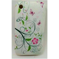 iPhone 3G/3GS чехол-накладка силиконовый, бабочки, цветы, белый фон