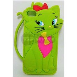 iPhone 4/4S чехол-накладка «Cat» силиконовый, салатовый