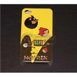 "iPhone 4/4S чехол-накладка ""Angry birds"" пластиковый, желтый фон"
