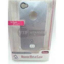 iPhone 4/4S чехол-накладка пластик+силикон, металлика