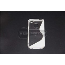 iPhone 4/4S чехол-накладка, пластиковый+силикон, белый+прозрачный