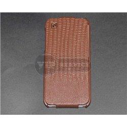 iPhone 5/5S чехол-блокнот Hoco Exclusively touching, кожаный, коричневый под кожу аллигатора