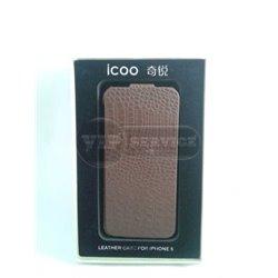 iPhone 5/5S чехол-блокнот iCOO кожа, коричневый