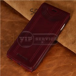iPhone 5/5S чехол-блокнот Pierre Cardin Genuine Leather кожаный, бордовый
