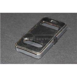 iPhone 5/5S чехол-книжка fone crocodile, кожаный, пластиковая основа, черный