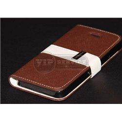 iPhone 5/5S чехол-книжка Momax, кожа, пластиковая основа, коричневый