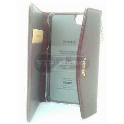 iPhone 5/5S чехол-сумка Zenus кожаный со слотом для пластиковых карт, пластиковая основа, бордовый