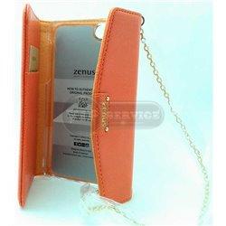iPhone 5/5S чехол-сумка Zenus кожаный со слотом для пластиковых карт, пластиковая основа, оранжевый