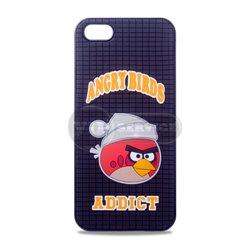 iPhone 5/5S чехол-накладка, «Addict Angry Birds» силикон+пластик, черный