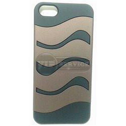 iPhone 5/5S чехол-накладка, «Hard shell case» пластиковый черный с коричневой вставкой в виде волны