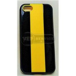 iPhone 5/5S чехол-накладка, «iCase MX» силиконовый черно-желтый в полоску