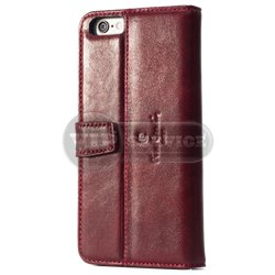 iPhone 6/6S чехол-блокнот Pierre Cardin Genuine Leather PCL-P04 кожаный, бордовый
