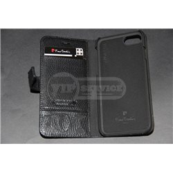 iPhone 7 чехол-книжка Pierre Cardin PCL-P05, кожаный, со слотами для пластиковых карт, коричневый/черный