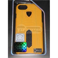iPhone 7 чехол-накладка Lamborghini series, кожаный, с сеткой черный/желтый