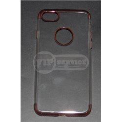 iPhone 7 чехол-накладка, силиконовый, прозрачный, цветной по торцам, с окошком для логотипа