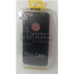iPhone 6 Plus/6S Plus чехол-накладка Baseus, ультратонкий с окошком для логотипа Apple, экокожа, силиконовый, черный