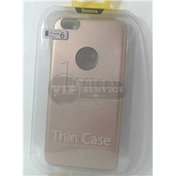 iPhone 6 Plus/6S Plus чехол-накладка Baseus, ультратонкий с окошком для логотипа Apple, экокожа, силиконовый, золотой