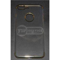 iPhone 7 Plus чехол-накладка, силиконовый, прозрачный, цветной по торцам, с окошком для логотипа