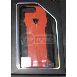 iPhone 7 Plus чехол-накладка Lamborghini series, кожаный, черный/оранжевый