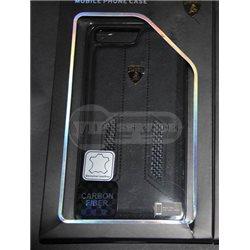 iPhone 7 Plus чехол-накладка Lamborghini series, кожаный, с сеткой, черный/оранжевый