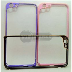 iPhone 6 Plus/6S Plus бампер на торцы металлический, светло-розовый с рамкой на камеру