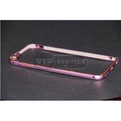 iPhone 6 Plus/6S Plus бампер на торцы металлический, розовый с рамкой на камеру