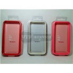 iPhone 4/4S бампер на торцы силиконовый, широкий, белый