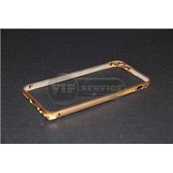 iPhone 6/6S бампер на торцы металлический, золотой с рамкой на камеру