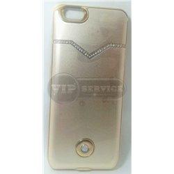 чехол-аккумулятор iPhone 6/6S X3 со стразами 3800mAh золотой