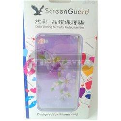 """iPhone 4/4S виниловая наклейка """"Цветы"""" фиолетовая"""