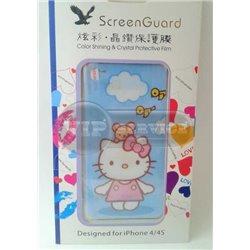 "iPhone 4/4S виниловая наклейка Newmond ""Kitty Love"" синяя"