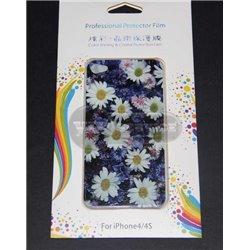 iPhone 4/4S виниловая наклейка, цветы, синий фон