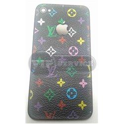 iPhone 4 задняя крышка Louis Vuitton, цветная, черный фон