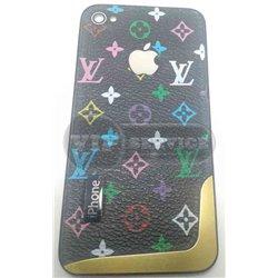iPhone 4 задняя крышка Louis Vuitton, цветная, черный фон, золотая пластина на торце