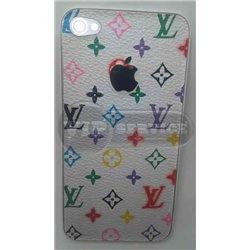 iPhone 4 задняя крышка Louis Vuitton, цветная, белый фон