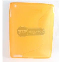 iPad 2/3/4 чехол-накладка, силиконовый волна, желтый
