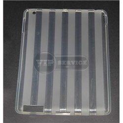 iPad 2/3/4 чехол-накладка, силиконовый, прозрачный в полоску