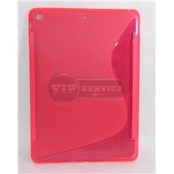 iPad Air чехол-накладка, силиконовый волна, розовый