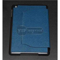 чехол-книжка iPad Mini 1/2/3 по торцам ченый синий фактурный экокожа