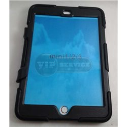 iPad mini 1/2/3 чехол-противоударный, пластик+силикон, черный