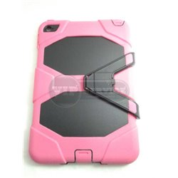 iPad mini 4 чехол-противоударный, пластик+силикон, розовый