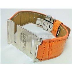 iPod nano 6 ремешок iWatch, кожаный, стальная оправа, оранжевый