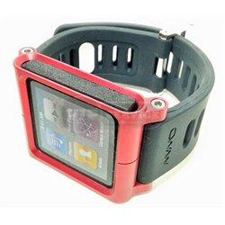 iPod nano 6 ремешок LunaTik, резиновый, стальная красная оправа, черный