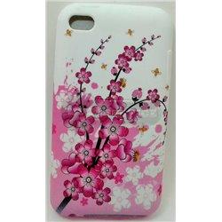 iPod touch 4 чехол-накладка силиконовый «Цветы розовые», белый фон