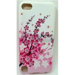 iPod touch 5 чехол-накладка силиконовый «Цветы розовые», белый фон