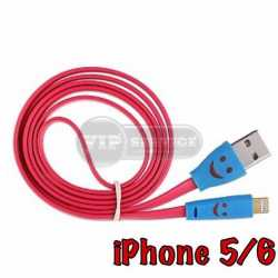 кабель USB Lightning smile светящийся, розовый