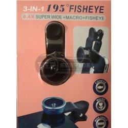 универсальная линза-клипса 195 Fisheye+макросъёмка 3in1