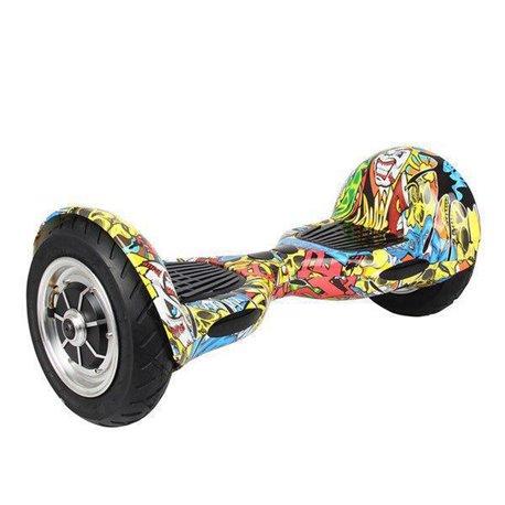 Гироскутер, надувные колёса,10 дюймов, желтый граффити